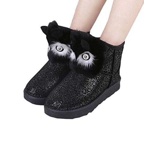 Deesee (tm) Automne Femmes Lady Hiver Chaud Décontracté Cheville Bottes De Neige Chaussures Noir
