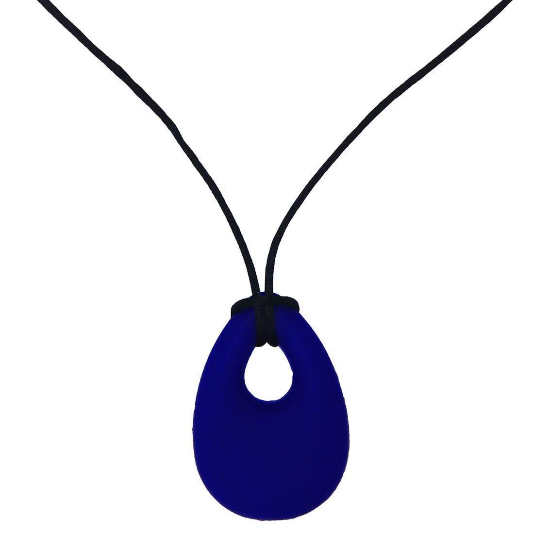 Azul marino Masticador de silicona Collar Mordedor Juguetes ADHD SPD Autismo y motor oral Necesidades especiales Ni/ños Masaje con puntos Palillo masticable con textura