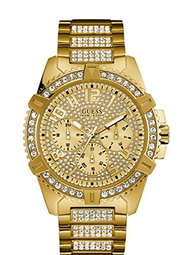 GUESS  Stainless Steel Gold-Tone Crystal Embellished Bracelet Watch with Day, Date + 24 Hour Military/Int'l Time. Color: Gold-Tone (Model: U0799G2) ()