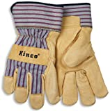 Kinco 1917 Unlined Grain Pigskin Leather Glove, Work, Large, Palomino (Pack of 6 Pairs)