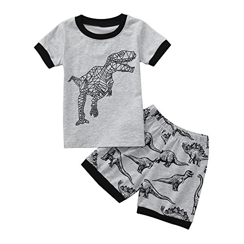 WOCACHI Toddler Baby Boys Clothes, Toddler Baby Boy Cartoon Tops T-Shirt Dinosaur Shorts Pants Outfits Set Clothes Infant Bodysuits Rompers Clothing Sets Christening Short Long Sleeve Organic Cotton