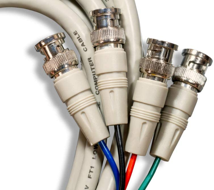 25 4 BNC Male OD:8.5mm 28AWG Cablelera ZCQQF4MM-25 Video Cable 75 Ohm