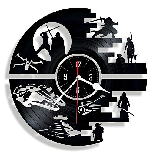 DEATH STAR Vinyl wall clock - great gift for birthday anniversary or any other occasion - beautiful home decor - unique design that made out of retro vinyl record
