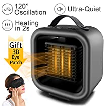 Space Heater Home Fan Heater Combo Portable Electric Desk Heater Mini Quiet PTC Ceramic Oscillating Heater 650W/1000W for Home Room Office and Indoor with EyePatch