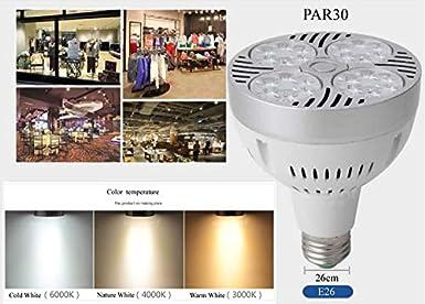 Lymxxl Par30 Led Bulb 30w 40w 45w Use Osram Chip Led Spot Lamp Light Track lamp E26 AC85-265V 3000k//4000k//6000k Driver with Fan 40W, Nature White 4000K - 10 Pack
