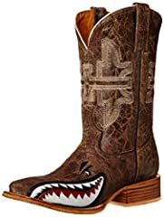 Tin Haul Men's Toastin' A Gnarly Shark Square Toe Boots Features beer girl obvious sole with brown crackle vamp with shark underlay. Brown crackle shaft with anvil embroidery. Handmade. Double welt, walking heel, cushioned insole and square t...