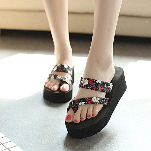 OME&QIUMEI La Mujer Zapatos Zapatos De Verano Brochetas De Zapatillas Para Usar Sandalias Verano Lejos Negro (A)