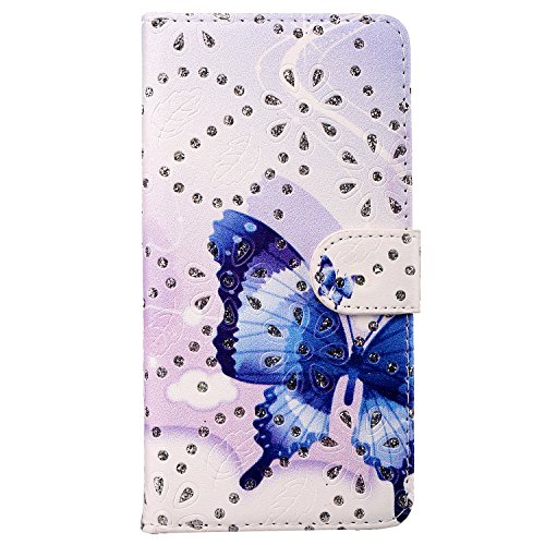 Blue Bow Leather Flip Case Cover for HTC One M8 Premium Pu Leather Flip Cover with Screen Protector, Foldable Stand, Pocket for Id for HTC One M8
