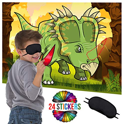Dinosaur Party Supplies Birthday Decorations - Pin The Horn On The Dinosaur Game - Fun Activities Birthday Games for Kids Party - Dino Poster 24 Sticker Horns Blindfold -