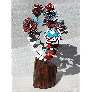 Wood flowers * Red white and blue pinecone bouquet with matching leaves and manzanita base * Rose Zinnia Begonia Daisy Sunflower and Chrysanthemum * Lodge * Cabin * Great gift * Patriotic Flowers 19