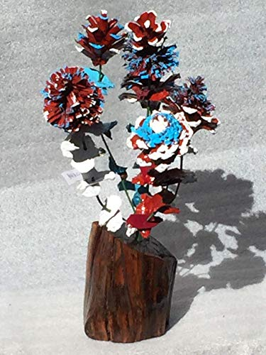 (Wood flowers * Red white and blue pinecone bouquet with matching leaves and manzanita base * Rose Zinnia Begonia Daisy Sunflower and Chrysanthemum * Lodge * Cabin * Great gift * Patriotic Flowers )