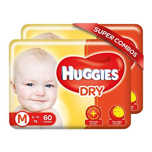 Huggies New Dry Taped Diapers Combo Pack 2 Medium Size 120 Pieces