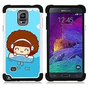 - Cute Beach Girl/ H??brido 3in1 Deluxe Impreso duro Soft Alto Impacto caja de la armadura Defender - SHIMIN CAO - For Samsung Galaxy Note 4 SM-N910 N910