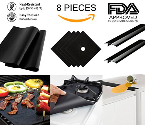 Kitchen Stove Counter Gap Cover Set - 4 Gas Range Protectors, 2 Oven Liners & 2 Silicone Countertop Gap Covers with FDA Approved (Bbq Grill 2 Surface Burners)