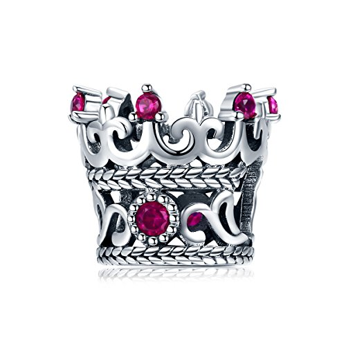 (Everbling Queen's Crown Pink CZ 925 Sterling Silver Bead Fits European Charm Bracelet)