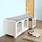 SoBuy Storage Bench With 3 Drawers U0026 Seat Cushion, Shoe Cabinet Storage  Unit Bench, FSR23 W