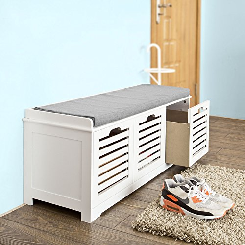 SoBuy Storage Bench with 3 Drawers & Seat Cushion, Shoe Cabinet Storage Unit Bench, FSR23-W