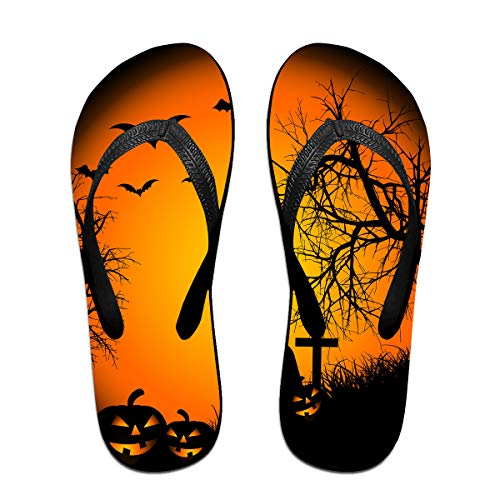 Couple Slipper Happy Halloween Print Flip Flops Unisex Chic Sandals Rubber Non-Slip Spa Thong -