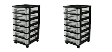 IRIS 6 Drawer Storage Cart With Organizer Top, Black (2 CARTS)