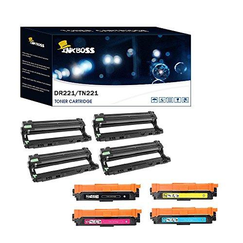 DR221CL Drum Unit &TN221BK TN225M/C/Y Toner Cartridge Compatible For Brother HL-3140CW 3150CDN 3170CW MFC-9330CDW 9340CDW 9130CDW DCP-9020CDW Printer -8 Piece of Set (1BK/1C/1Y/1M/4DR) 4dr Laser