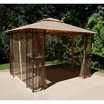 Garden Winds 11 x 9 Curved Corner Panel Gazebo Replacement Canopy Top Cover and Netting - RipLock 350 : Garden & Outdoor