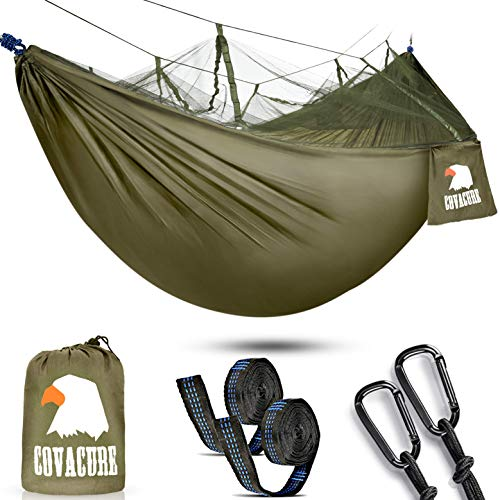 (Camping Hammock with Net - Lightweight COVACURE Double Hammock, Portable Hammocks for Indoor, Outdoor, Hiking, Camping, Backpacking, Travel, Backyard, Beach)