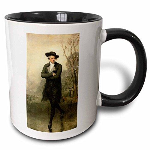 (3dRose BLN American Art Fine Art Collection - The Skater by Gilbert Stuart American Art - 15oz Two-Tone Black Mug (mug_126870_9))