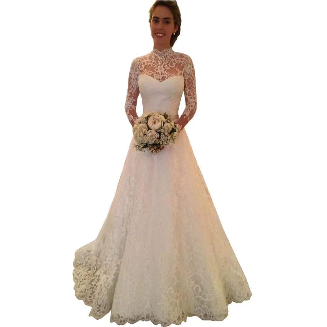 White Yilian 2019 New Women's High Neck Lace Wedding Dress for Bride Illusion Long Sleeves Ball Gown Wedding Dress