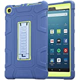 TabPow All-New Fire HD 8 Tablet, Shockproof, Drop Protection, Three-Layer Full-Body Hybrid Kids Adult Case With Kickstand For Fire HD 8 Tablet (7th Gen, 2017) & Fire HD 8 (6th Gen, 20 - Blue Green