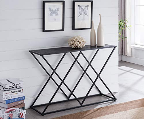 Kings Brand Furniture - Calvert Modern Sofa/Entryway Console Table, Black