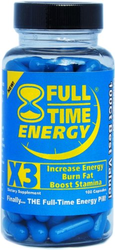 Full-Time Energy X3 – 100 Capsules – Increase Energy Burn Fat Boost Stamina – Best Natural Energy Booster Fat Burner Supplements Stamina Enhancer – Weight Loss Diet Pill Lose Weight for Men and Women