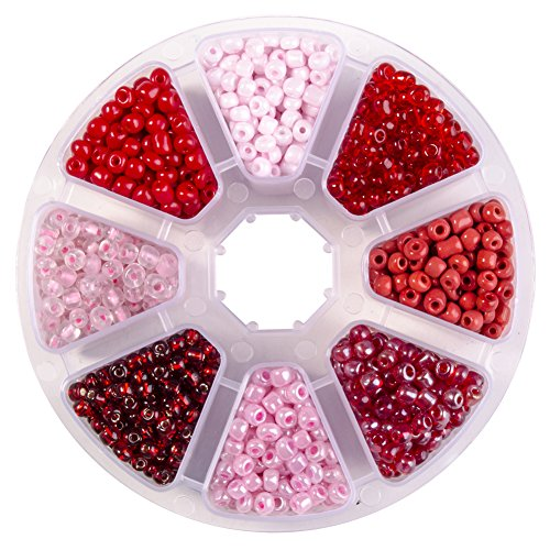 PH PandaHall Mixed 6/0 Round Glass Seed Beads Diameter 4mm About 1440pcs Red with Box Set Value Pack (Mixed Glass Red)