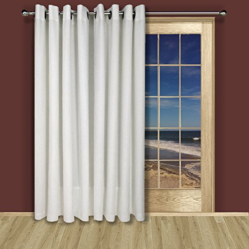 New Castle Lined Room Darkening Grommet Patio Curtain 106W x 84L, White
