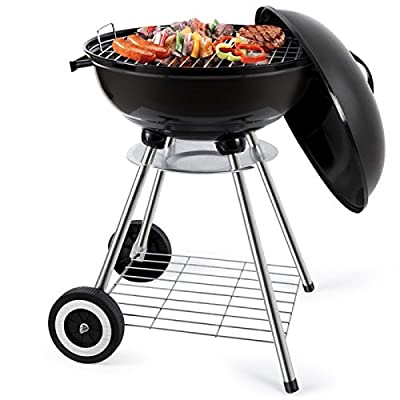 18-Inch Charcoal Grill Portable Charcoal Grilling Barbecue Grills and Smoker Tailgating Round Standing Camping BBQ Kettle Grills Outdoor Cooking Heat Control Steel Cooking Grate for Steak Chicken from BEAU JARDIN