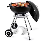 18-Inch Charcoal Grill Portable Charcoal Grilling Barbecue Grills and Smoker Tailgating Round Standing Camping BBQ Kettle Grills Outdoor Cooking Heat Control Steel Cooking Grate for Steak Chicken