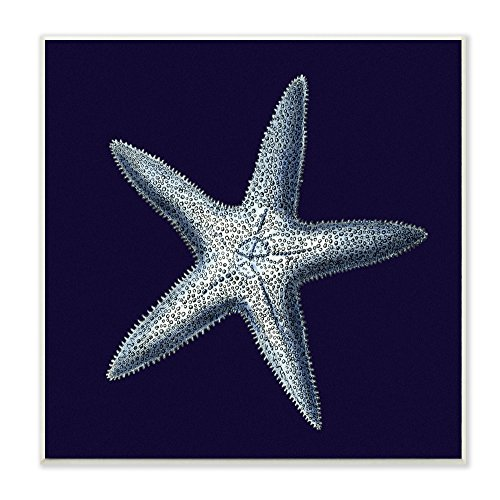Stupell Home Décor Distressed Navy and White Starfish Wall Plaque Art, 12 x 0.5 x 12, Proudly Made in USA]()