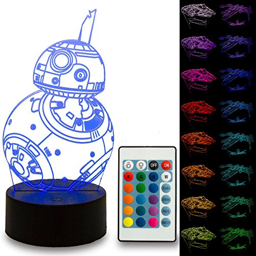 NINE Lighting Star Wars 3D Illusion Night Light Lamp 3 pack with Free Remote Control and 16 Colors for Kids or Adult by NINE Lighting