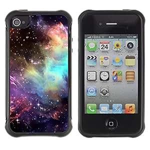 All-Round híbrido Heavy Duty de goma duro caso cubierta protectora Accesorio Generación-II BY RAYDREAMMM - Apple iPhone 4 / 4S - Universe Cosmos Stars Awe Inspiring