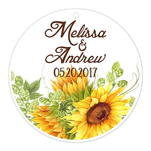 Cardstock Tags, Sunflower Bridal Shower Tags, Sunflower Wedding Shower, Reception Favor (36 tags, 2.5 inch round)