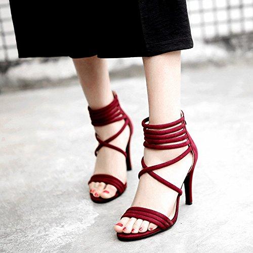 Charm Foot Mujeres Open Toe Cremallera Correa De Tobillo Sandalias De Tacón Rojo Vino