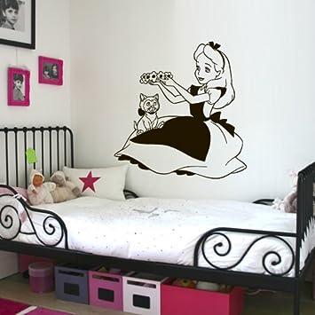 Wall Decal Vinyl Sticker Decals Art Decor Design Alice in Wonderland Rabbit Cat Clock Were All Mad Here Quote Dorm Bedroom Fashion M1510