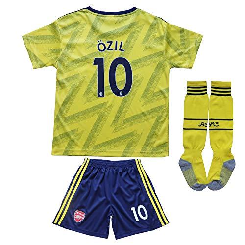 GamesDur 2019/2020 Arsenal M. Ozil 10 Away Yellow Kids Soccer Jersey Set Shirt Short Socks Youth Sizes (Away (Yellow), 8-9 Years) (Arsenal Kids Kit)