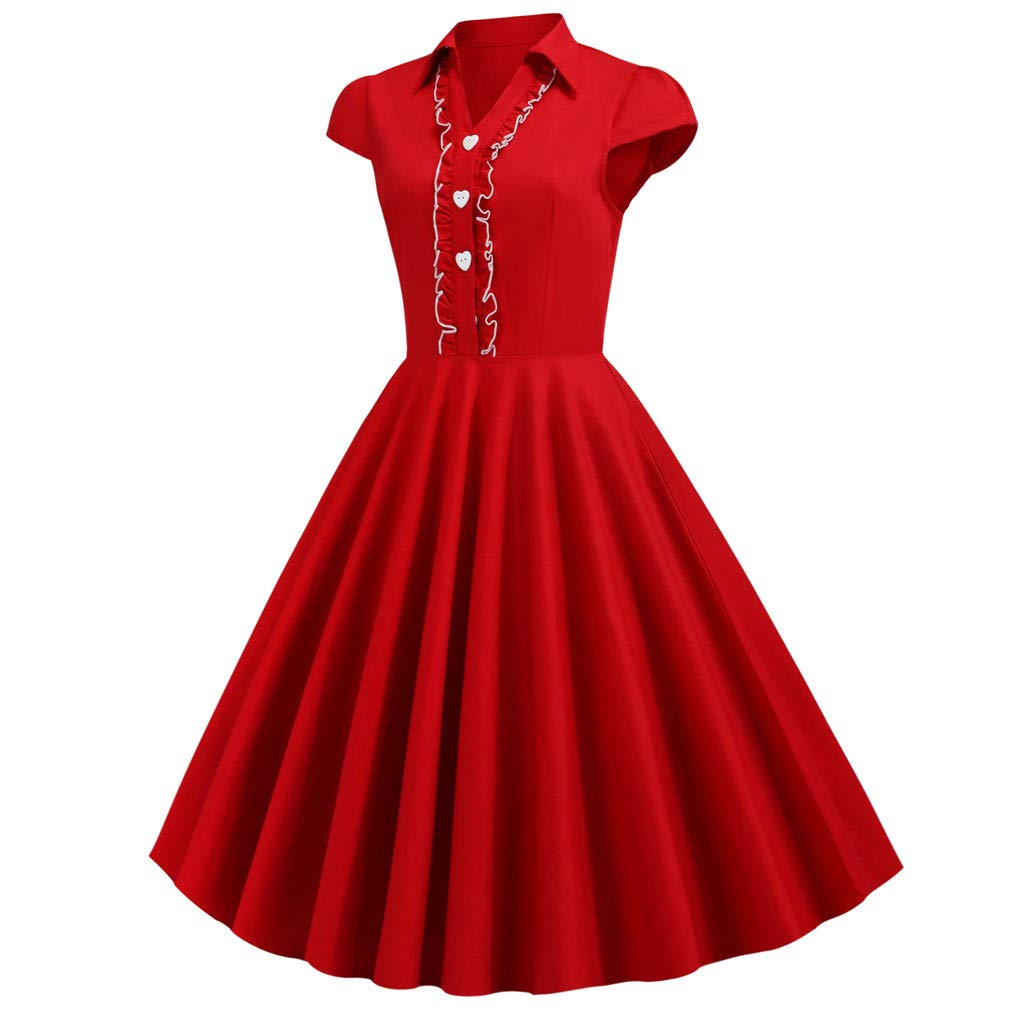 Clearance! Swiusd Women Collar Shirt Dresses Solid Color Swing A Line Short Sleeve Dresses Student Ruffle Brim Button Dresses (Red, M-US 6) by Clearance! Swiusd