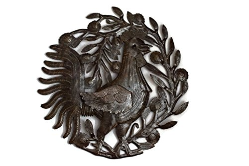 Rooster Design Wall (Metal Rooster, Country Kitchen Wall Art, Sturdy Artistic Design from Haiti 15.5