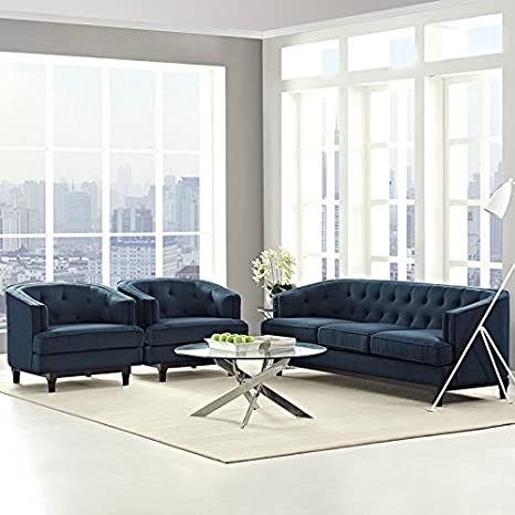 Modway Coast Upholstered Fabric Contemporary Modern Sofa and Two Armchair  Set in Azure