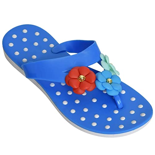 77e845ce1ffd6 Blue Dailywear Women s Trendy Flowers Embroidered Comfortable Outdoor Thong  Slippers Flipflops Wedges T Strap Open Toe
