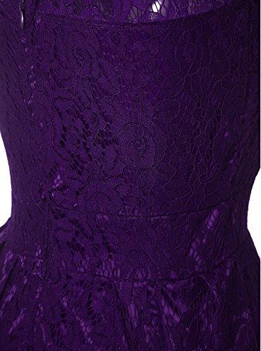 Vintage Purple Lace Cap For Cocktail Anatoky Formal Short Sleeve Foral Dress Party Women Dresses Bridesmaid tBnFp