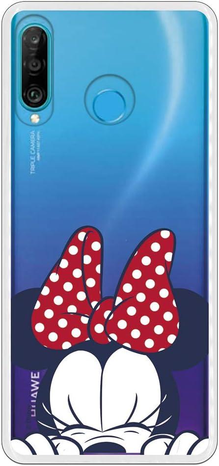 Imagen deFunda para Huawei P30 Lite Oficial de Clásicos Disney Minnie Cara para Proteger tu móvil. Carcasa para Huawei de Silicona Flexible con Licencia Oficial de Disney.