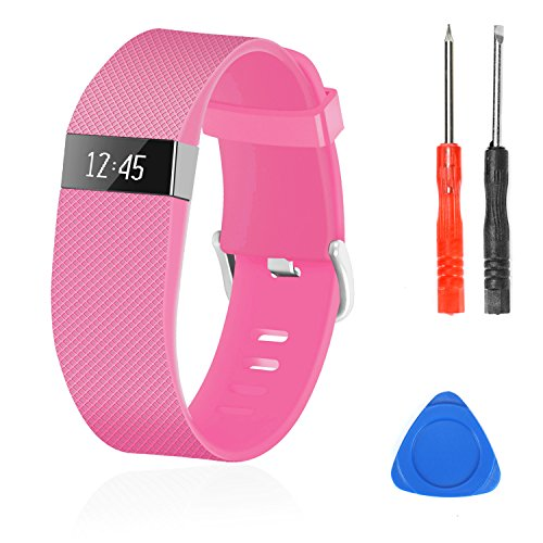 Wizvv Compatible Bands Replacement for Fitbit Charge HR,Charge HR 1, with Metal Buckle Fitness Wristband Strap Women Men Large Small (Pink,Large)