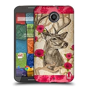 Head Case Designs Deer Stipple Art Animals Hard Back Case for Motorola Moto X (2nd Gen)